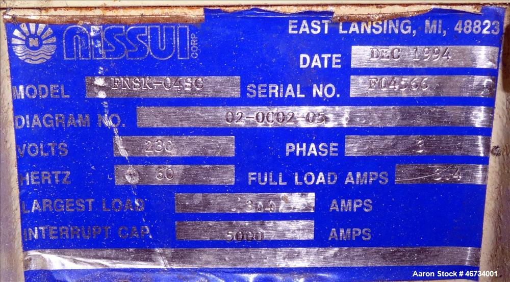 "Used- Nissui Granulator, Model FNSK-04SC, Carbon Steel. Approximate 10"" x 9"" chamber, (2) S cutters. Approximate 0.75kw, 3/6..."