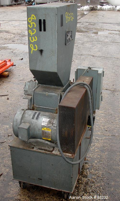 """USED: Polymer Machinery Corp Grinder, model 68SPL. Approximate 6"""" diameter x 8"""" wide 2 bolt-on blade open rotor, no blades. ..."""