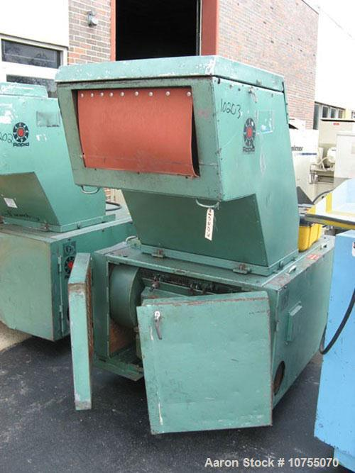 "Used-Rapid Model 1224 KU Granulator. Unit is equipped with a 3 knife open style rotor and two bed knives. 12"" x 24"" cutting ..."