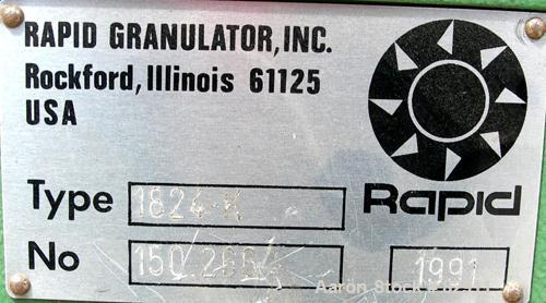 """USED: Rapid granulator, model 1824K. Approx 18"""" diameter x 24"""" wide open rotor with 3 rows of 2 bolt on blades. Tilt back pe..."""