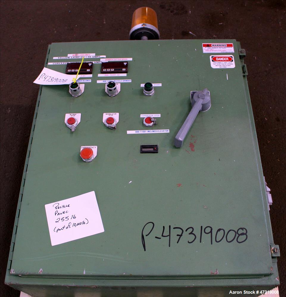 "Used- Rapid Hog Granulator, Model 2442-RS. Approximate 24"" x 42"" feed throat. Approximately (20) Rotating bolt-on knifes, 3 ..."