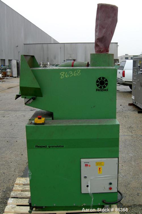 "USED: Rapid Granulator, model GK3029-KU. Approximate 8"" diameter x 12"" wide 3 bolt on blade open rotor. Tilt back pelican st..."
