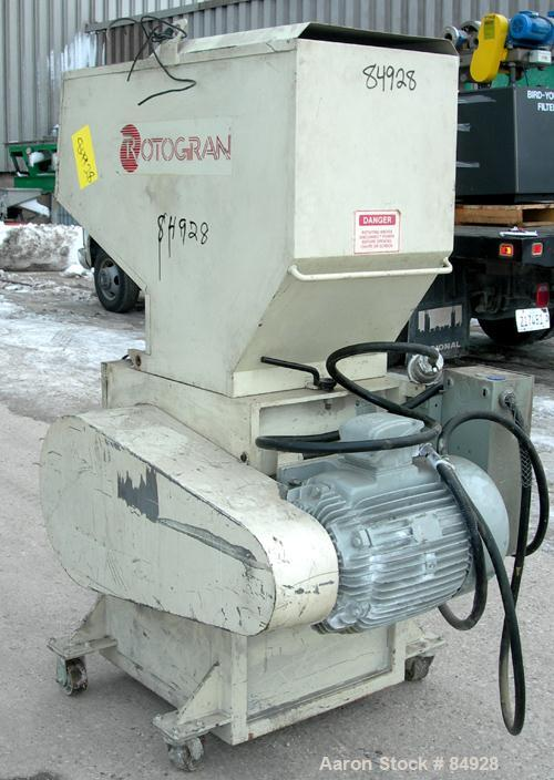 "USED: Rotogran grinder, model PH1418. Approx 14"" diameter x 18"" wide 3 bolt-on blade open rotor, (2) bed knives. Tilt back p..."