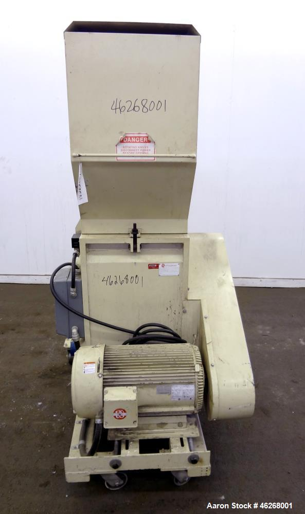 "Used- Rotogran Granulator, Model W0-1418. Approximately 14"" x 18"" feed section with (3) bolt on blades open rotor. Tilt back..."