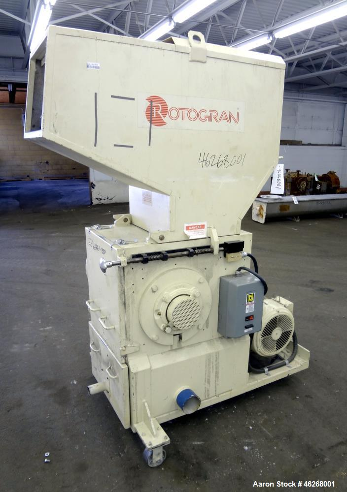 """Used- Rotogran Granulator, Model W0-1418. Approximately 14"""" x 18"""" feed section with (3) bolt on blades open rotor. Tilt back..."""