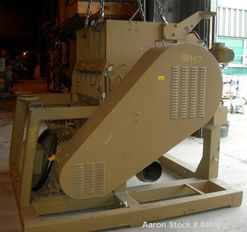 """USED: Rotogran granulator, 48"""" x 28"""" feed opening with bolt-on hopper. Approx 48"""" wide, 3 rows of 2 bolt-on slanted blades, ..."""