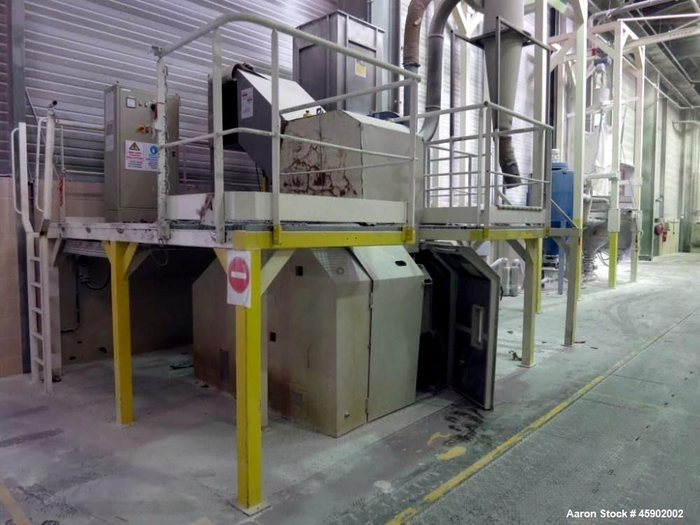 "Used- Tria Granulator, Type 80-49/DN-SL, Carbon Steel. Approximate 15.6"" diameter x 24.9"" wide (400mm x 830 mm) rotor, (5) r..."