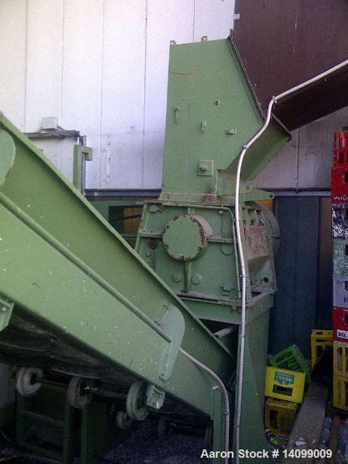 "Used-Zerma GS 500/800 Granulator for bottle crates, PET bottles, etc.  Feed opening 31 x 23"" (800 x 600 mm).  Rotor diameter..."