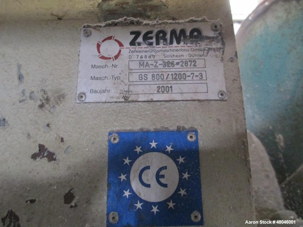"""Used- Zerma Granulator, Type GS 800/1200. 31.2"""" (800 mm) diameter x 46.8"""" (1200 mm) st. side rotor driven by a 198 hp/132 kW..."""
