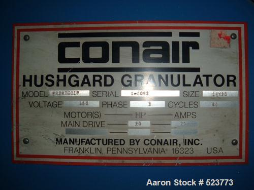 "USED: Conair Hushgard model SK297601P. 14"", 20"" feed opening, 3 knifeopen rotor having two bed knives. Unit includes a 3/8"" ..."