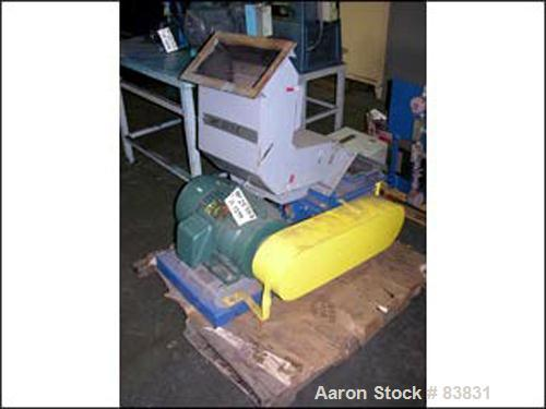 """USED: Chipper, 6"""" x 15"""" feed opening, segmented rotor with carbide tips, 15 hp 230/460 volt motor, feed hopper with magnets."""