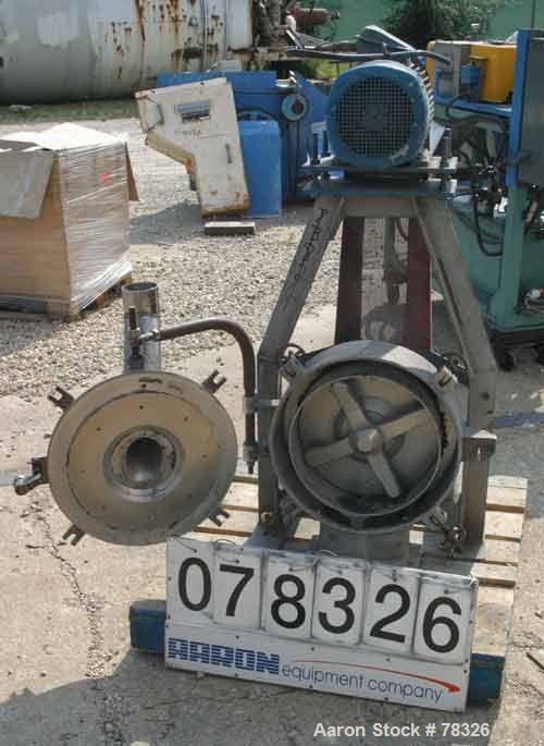 """Used- Pallmann Type Mill, 316 Stainless Steel. 20"""" Siameter x 5"""" deep chamber, 16"""" diameter screen, approximate 1/4"""" holes. ..."""