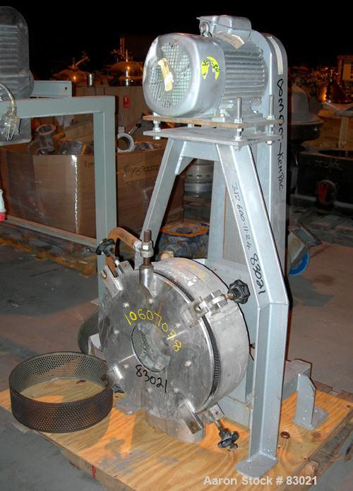 "USED: Pallman Type Mill. 316 stainless steel. 20"" diameter x 5"" deep chamber, 16"" diameter screen, approximate 1/4"" holes. C..."