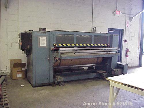 """USED: IMO Corfine rotary die cutter, 66"""" wide. Pressure adjusted by raising or lowering the drum rolls. Driven by a 5 hp, 50..."""