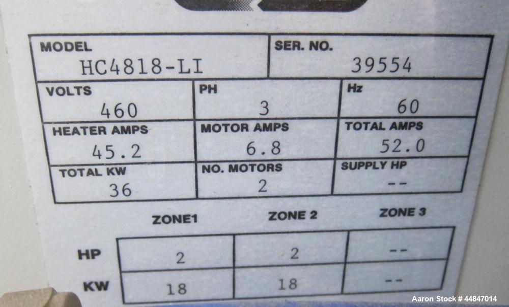 Used- Mokon Hot Oil Temperature Controller, Model H1818-LI. Dual zone, 18 kw each zone, 36 total kw. Maximum temperature 350...