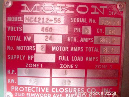USED: Mokon hot oil temperature control unit, model MC4212-56. 24 kw, 2 zones, 12 kw each. Temp range approximately 40-500 d...
