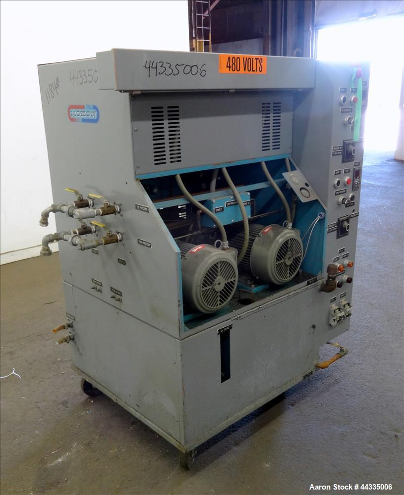Used- Mokon 12 Kw Oil Heater, Model MR4S06-EZ. (2) Zones, 6kW each. Driven by 1-1/2 hp motors. 3/60/480 volt. Mounted on a c...