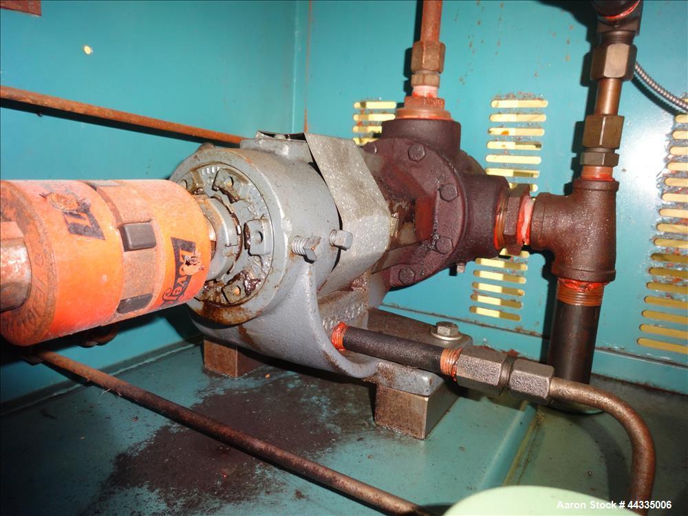 Used- Mokon 12 Kw Oil Heater, Model MR4S06-EZ. (2) Zones, 6kW each. Driven by 1-1/2 hp motors. 3/60/480 volt. Mounted on a c...