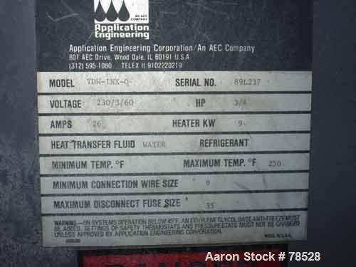Used- AEC Water Temperature Control Unit, Model TDW-1NX-Q. Heater rated 9 kW, 3/4 hp, 3/60/208-230/460 volt, 3450/2850 rpm p...