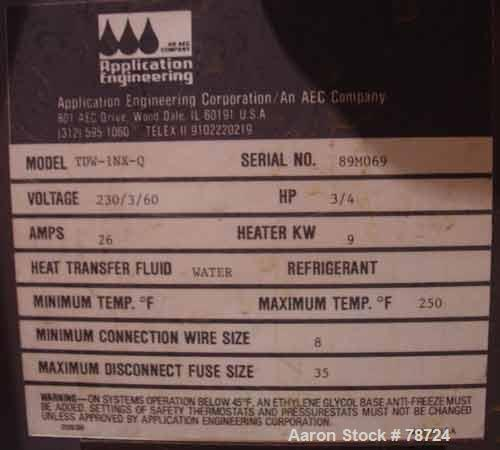 """USED: AEC water temp unit, model TDW-1NX-Q, 1"""" inlet and outlet, max temp 250 deg F, 3/60/230. Mounted on casters."""