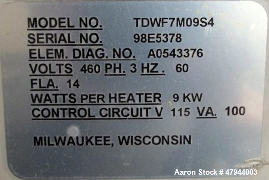 Used- AEC TrueTemp Series Water Temperature Control Unit, Model TDWF7M09S4. 9KW, 3/60/460 volt. Serial# 98E5378.