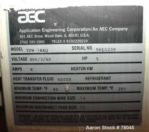 Used- AEC Temperature Controller, Model TFW-INHQ. 5 Hp, 3/60/460 volt, 8 amp. Temperature range 45-250 deg F.