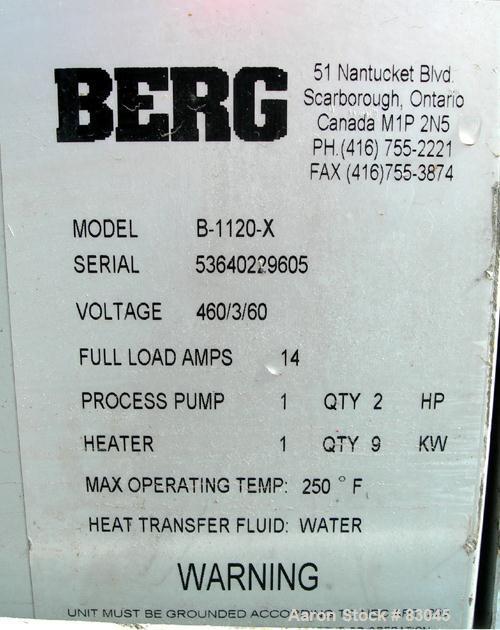 USED: Berg water temperature control unit, model B1120X. 9 kw, single zone, 3/60/460 volt, 14 amp, max temp 250 deg F. Mount...