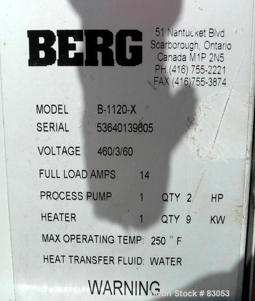 USED: Berg Water Temperature Control Unit, model B1120X. 9 kw, single zone, 3/60/460 volt, 14 amp. Max temp 250 deg F. Mount...
