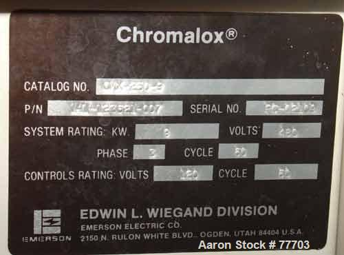 USED: Chromalox water circulating temperature controller, modelCMS-250-9. Open loop, 9 kw, 3/60/480 volt.