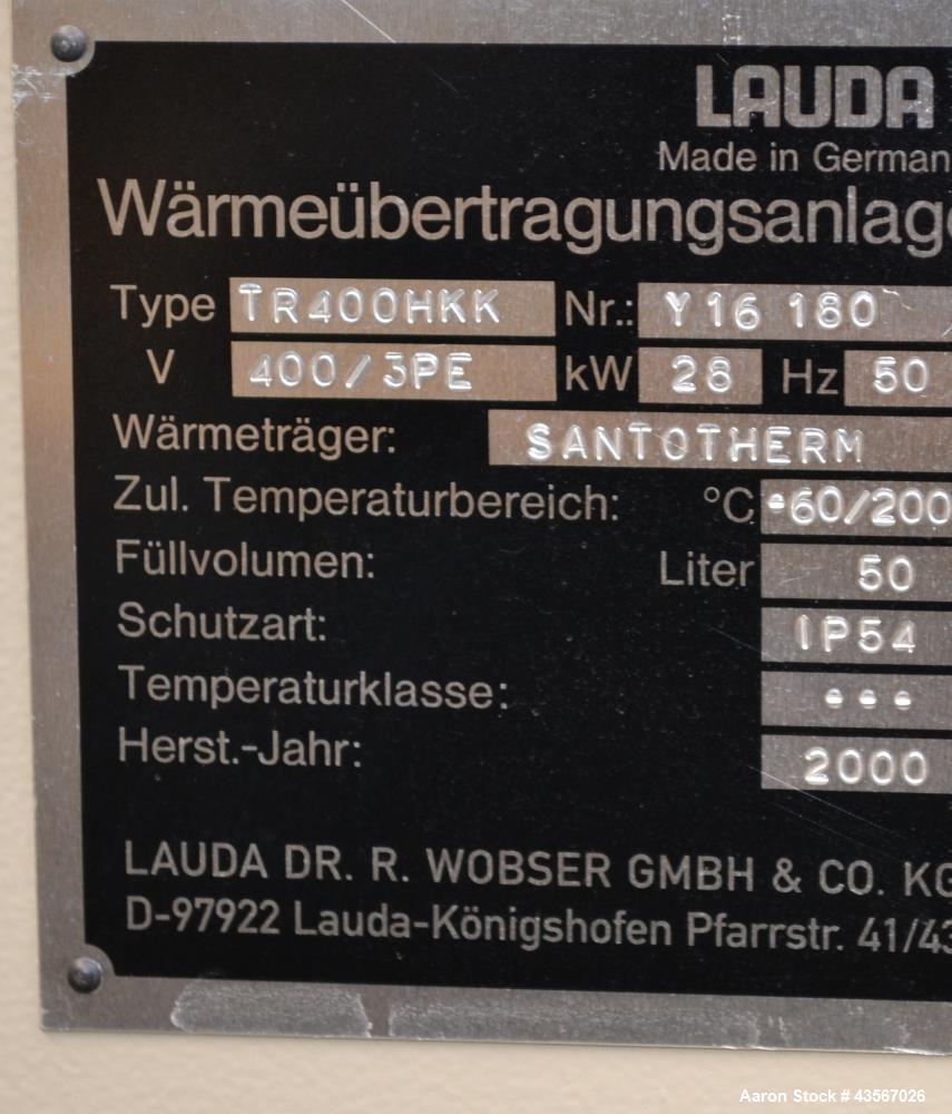 Used- Lauda 28kW Secondary Circle Unit Heater, Type TR400HKK. Temperature range -60 to 200 degrees C. (-76 to 392 F.). 3/50/...