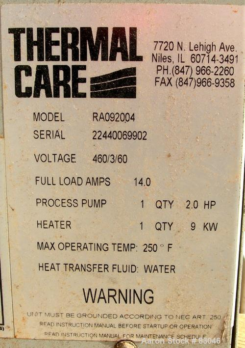 USED: Thermal Care Water Temperature Control Unit, model RA092004.   9 kw, single zone, 3/60/460 volt, 14 amp, max temp 250 ...