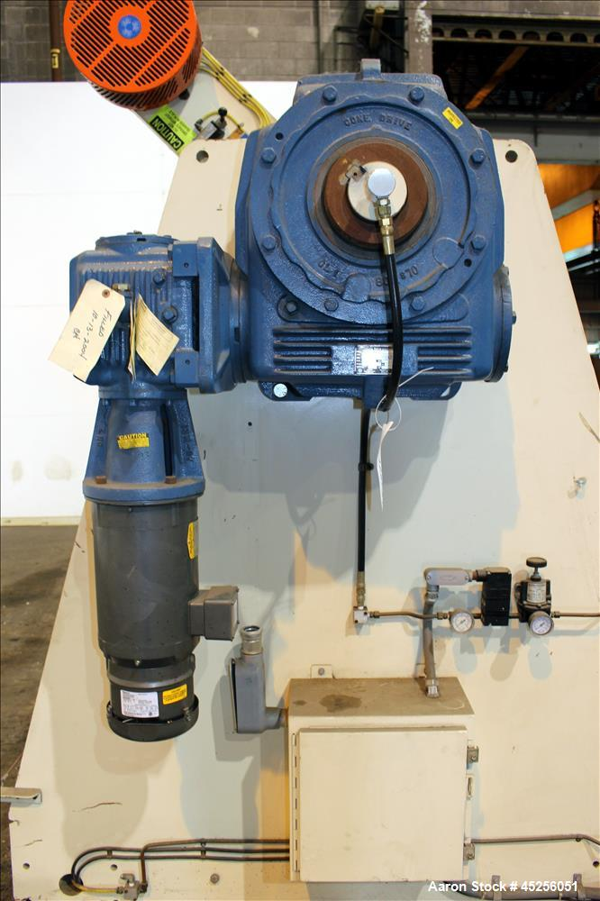 "Used- Dri-Tec Single Turret Dual Station Winder. Approximate 52"" wide x 48"" diameter roll capacity. Driven by a 5 hp, 3/208-..."