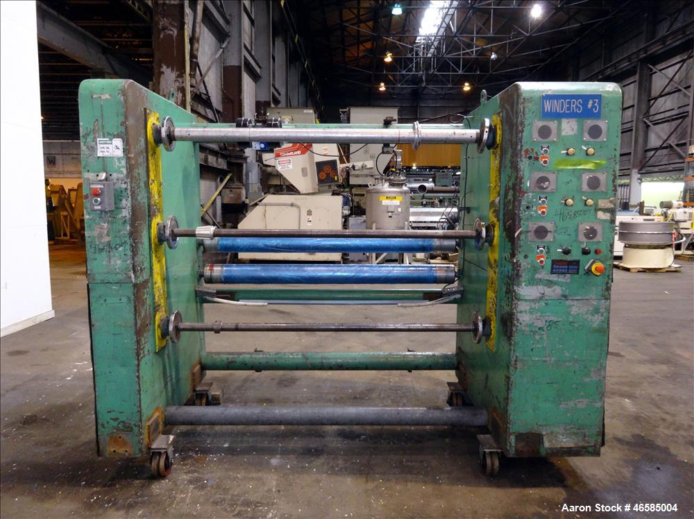"""Used- Fixed position winder, approximate (2) 74"""" x 6"""" diameter rolls driven by 2 hp, 180 volt, 1540 rpm motors with 30:1 gea..."""