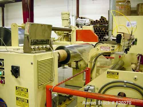 """USED: 60"""" turret winder with autocut zip knife. Substitute vector for DC drives, bow rool and 2 slitting mechanism for inlin..."""