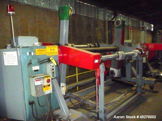 """Used- Crown 76"""" Wide Turret Winder. Up to 60"""" OD roll size, 2000# capacity, 4 position, single turret with motor drive."""