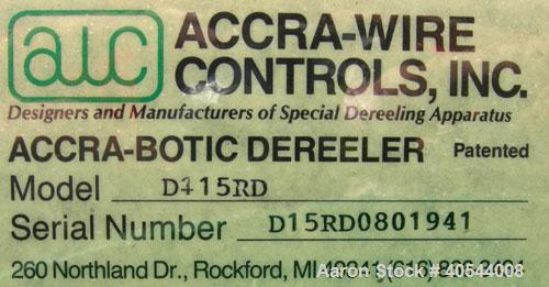 "Used- Accra Wire Controls Accra-Botic Rewind, Model D15RD. 0 to 200 feet per minute, 150 pound capcity, 26"" diameter dual sp..."