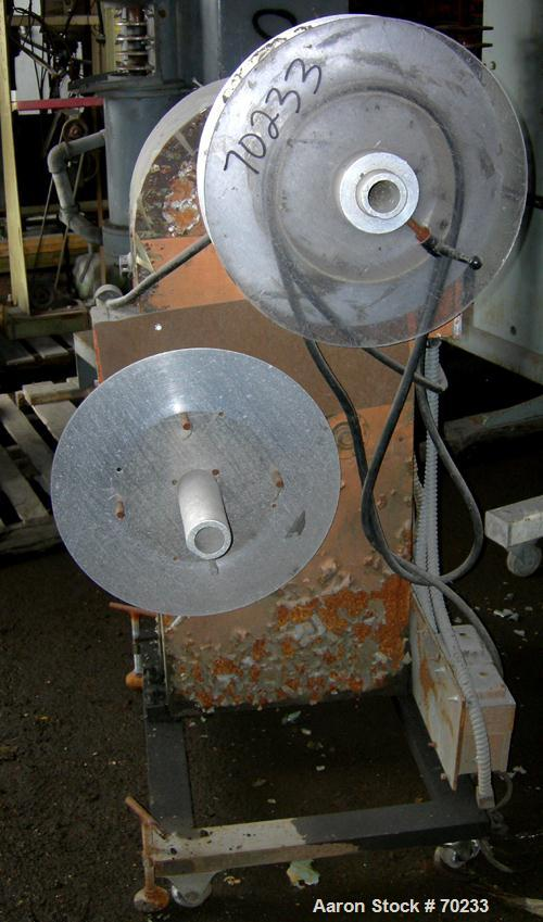 "Used- Hobbs Winder. (2) 20"" diameter x  4-1/2"" wide maximum adjustable rolls. Driven by an approximate 3/4 hp motor with red..."