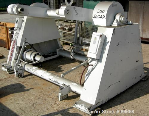 """USED: Hobbs 41"""" wide single station dual turret winder, 500 lb capacity. Approximate 48"""" diameter roll size. Driven by a .5 ..."""
