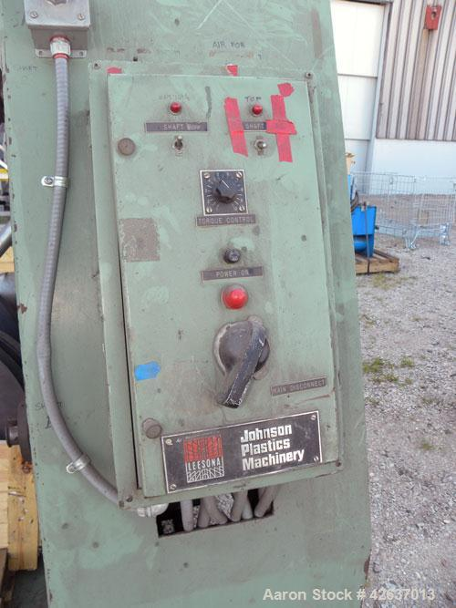 """Used- Johnson Plastics Machinery Dual Turret Winder, Approximately 36"""" wide. (1) Adjustable guide roll. Each roll driven by ..."""