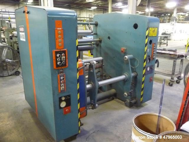 """Used- PMI Shaftless Single Turret Winder, 34"""" Wide, Model 223-30-01. Has dancer and layon rolls, DC drive. Good for 24"""" diam..."""