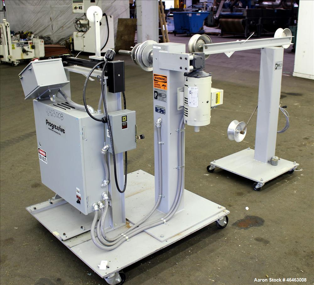 Used- Progressive Machine Take-Up Spooling Machine, Model 609-RH. Maximum unwinding speed of 600 feet per minute. Maximum pa...