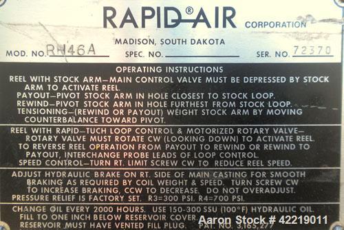 Used- Rapid-Air Reel Winder System consisting of: (3) Rapid-Air winders, model RH46-A, serial numbers 72370-72371-72215. App...