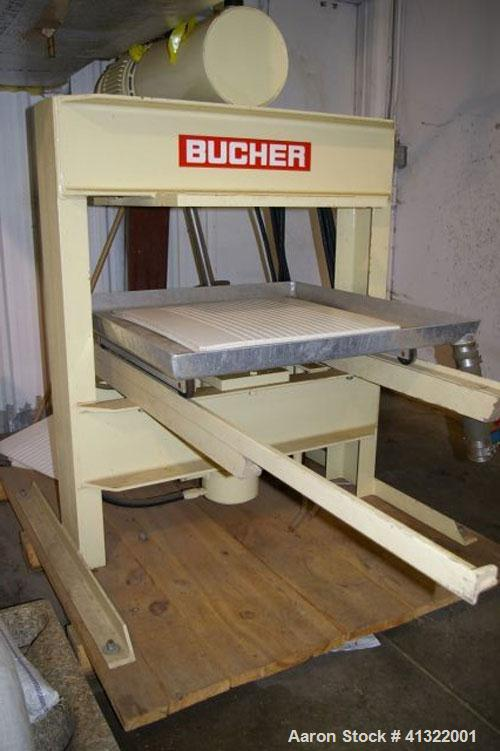 """Used-Bucher-Guyer Hydraulic Press, Model TP7, manufactured 2003. 9 drainage trays 24"""" x 24"""" x .25"""" thick, made of UHMWPE (hi..."""