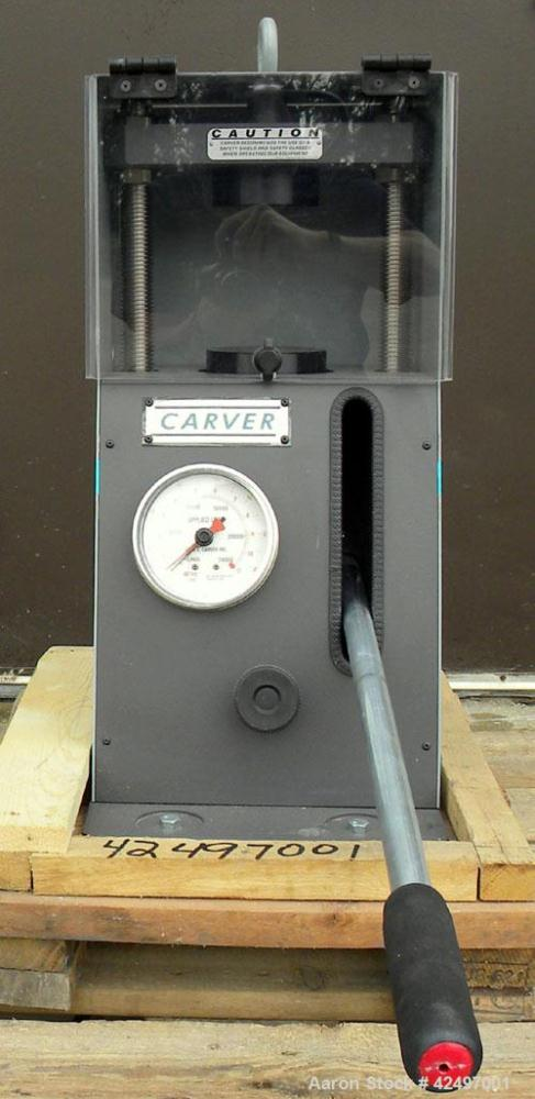 Used- Carver Manual Hydraulic Pellet Press, 12 Ton Clamping Force, Model 4350.L. Hand operated, for 0-12 tons (24,000 pounds...