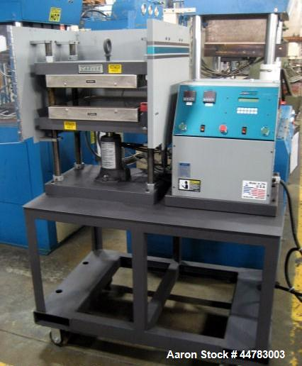 Used- Carver 7.5 Ton Hydraulic Molding & Laminating Press, Model 4425-4D10A01.  (4) Post upstroke type, table model on stand...