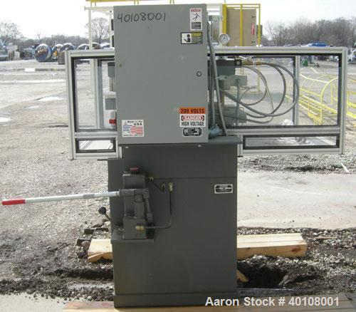 "Used:  Carver 4 Post Manual Hydraulic Press, Model 4902. 30 ton clamp force capacity.  (2) 24"" x 24"" electrically heated, wa..."