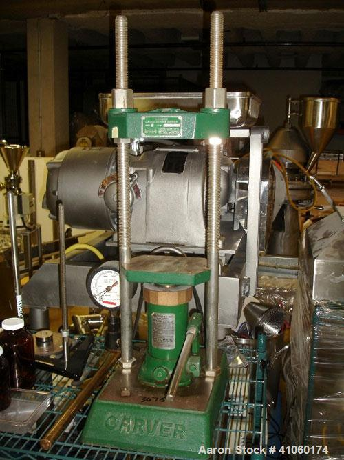"""Used- Carver Manual Hydraulic Lab Press, 12 Ton Clamping Force, Model C. Requires (2) 6"""" x 6"""" platens. Ram stroke 5.1"""", dayl..."""