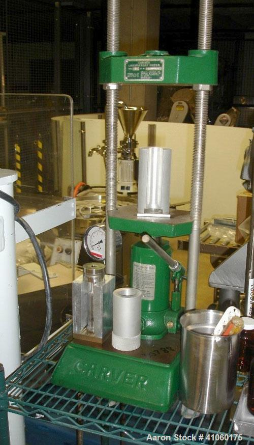 "Used- Carver Manual Hydraulic Lab Press, 12 Ton Clamping Force, Model C. Requires (2) 6"" x 6"" platens. Ram stroke 5.1"", dayl..."