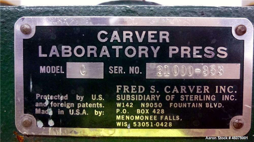 """Used- Carver Manual (2) Column Hydraulic Laboratory Press, 12 Ton Clamping Force, Model C. (2) 6"""" Wide x 6"""" long electricall..."""