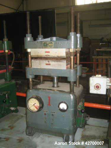 """Used- 30 Ton Carver Heated Platen Lab Press, Model W. Hydraulic 4 post upstroke type. Table model. Distance between 1.25"""" di..."""